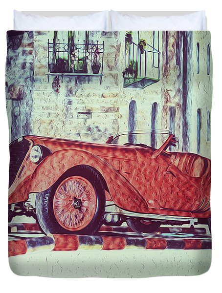 Duvet Cover featuring the painting 1937 Alfa Romeo 8c 2900a by Boris Mordukhayev