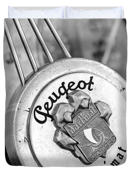 1937 Peugeot 402 Darl'mat Legere Special Sport Roadster Recreation Steering Wheel Emblem Duvet Cover by Jill Reger
