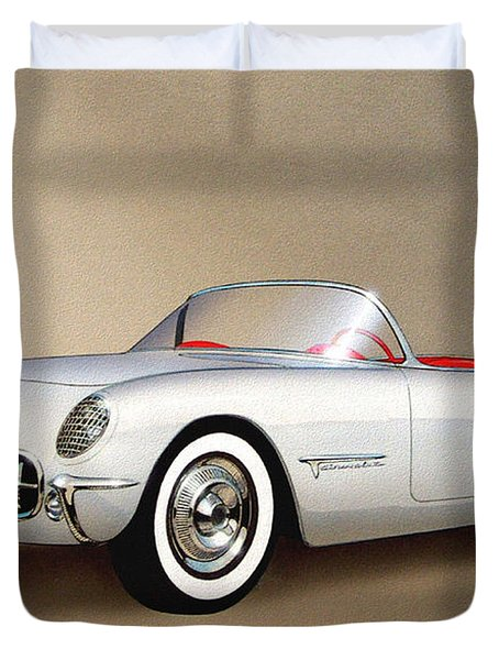 1953 Corvette Classic Vintage Sports Car Automotive Art Duvet Cover
