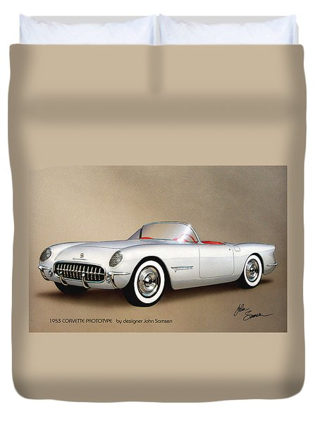 1953 Corvette Classic Vintage Sports Car Automotive Art Duvet Cover