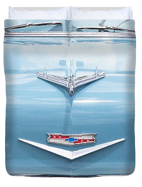1956 Chevrolet Hood Ornament Duvet Cover