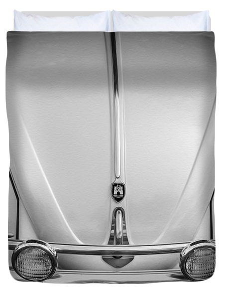 1960 Volkswagen Beetle Vw Bug   Bw Duvet Cover by Rich Franco