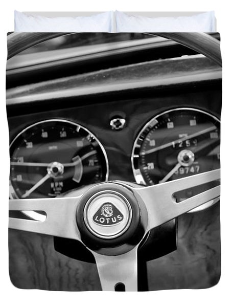 1965 Lotus Elan S2 Steering Wheel Emblem Duvet Cover by Jill Reger