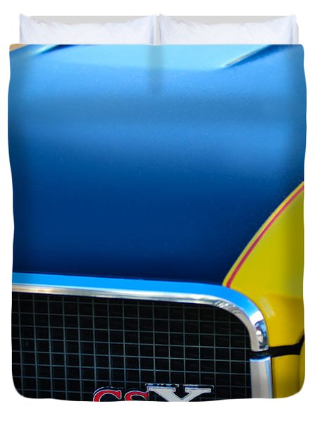 Duvet Cover featuring the photograph 1970 Buick Gsx Grille Emblem by Jill Reger