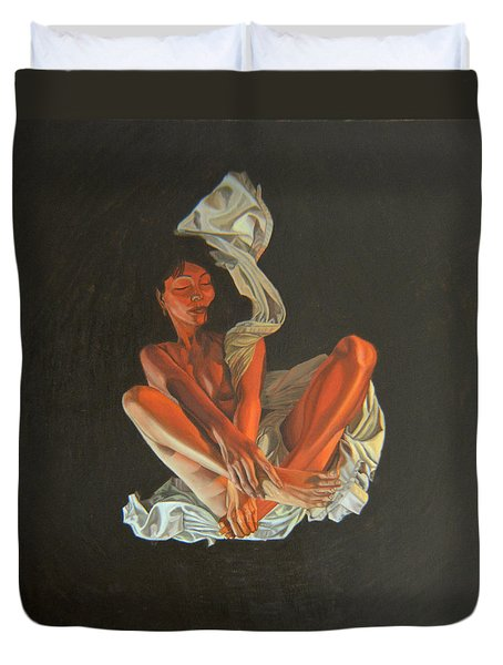 Duvet Cover featuring the painting 2 30 Am by Thu Nguyen