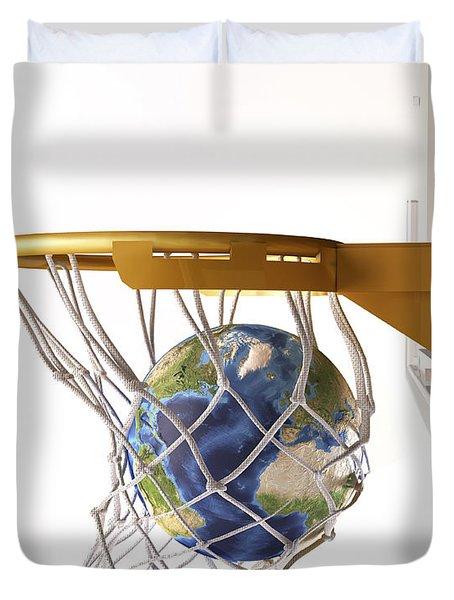 3d Rendering Of Planet Earth Falling Duvet Cover by Leonello Calvetti
