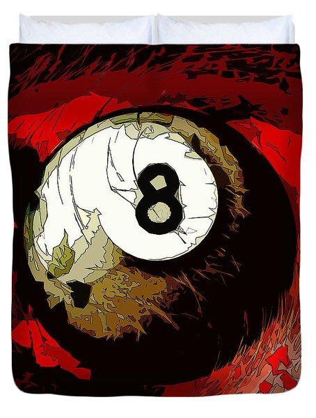 8 Ball Billiards Abstract Duvet Cover