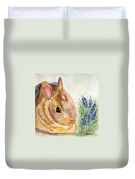 Duvet Cover featuring the painting A Baby Bunny by Angela Davies
