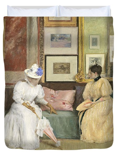 A Friendly Call Duvet Cover by William Merritt Chase