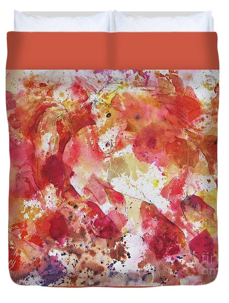 Duvet Cover featuring the painting A Horse Appeared by Joan Hartenstein
