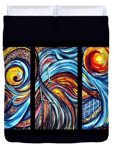 Duvet Cover featuring the painting A Ray Of Hope by Harsh Malik