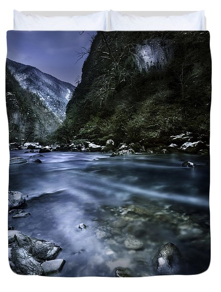A River Flowing Through The Snowy Duvet Cover by Evgeny Kuklev