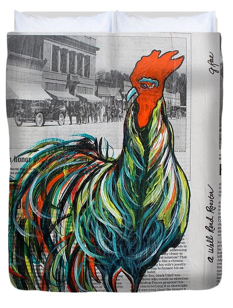 Duvet Cover featuring the painting A Well Read Rooster by Janice Rae Pariza
