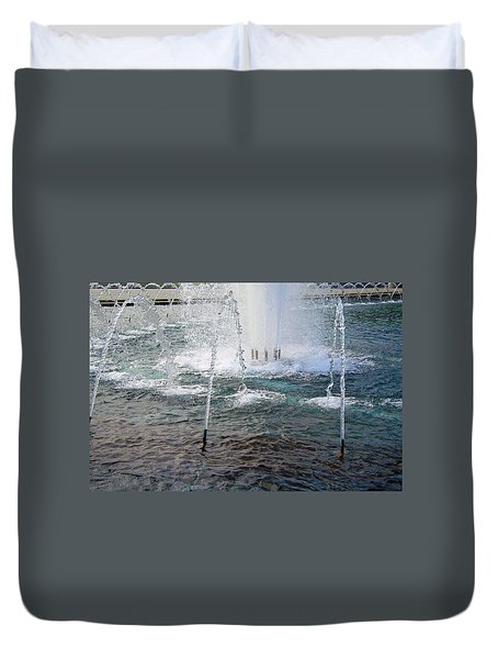 Duvet Cover featuring the photograph A World War Fountain by Cora Wandel