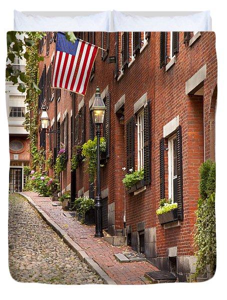 Duvet Cover featuring the photograph Acorn Street Boston by Brian Jannsen