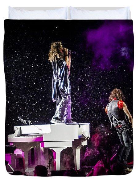 Aerosmith Steven Tyler Joe Perry In Concert Duvet Cover by Jani Bryson