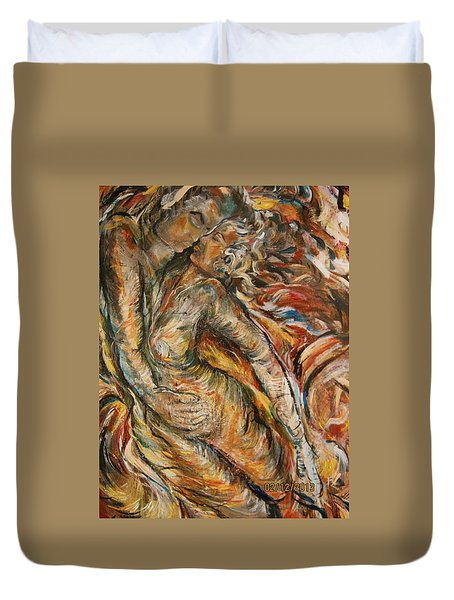 Duvet Cover featuring the painting Air by Dawn Fisher