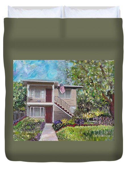 Duvet Cover featuring the painting Alameda 1908 Duplex  by Linda Weinstock