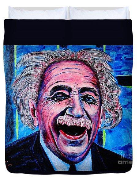 Duvet Cover featuring the painting Albert Einstein by Viktor Lazarev
