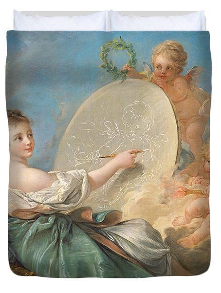 Allegory Of Painting Duvet Cover by Francois Boucher
