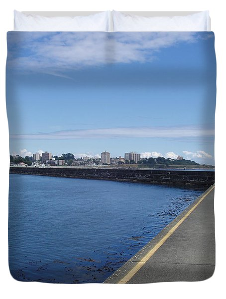 Duvet Cover featuring the photograph Along The Breakwater by Marilyn Wilson
