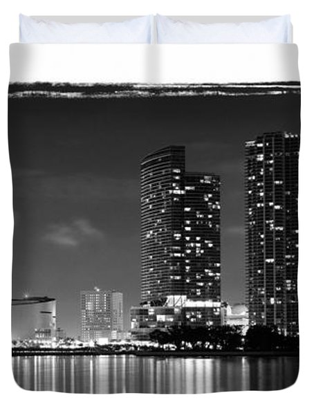 Duvet Cover featuring the photograph American Airlines Arena And Condominiums by Carsten Reisinger
