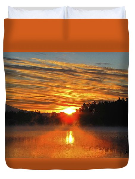 Duvet Cover featuring the photograph American Lake Sunrise by Tikvah's Hope