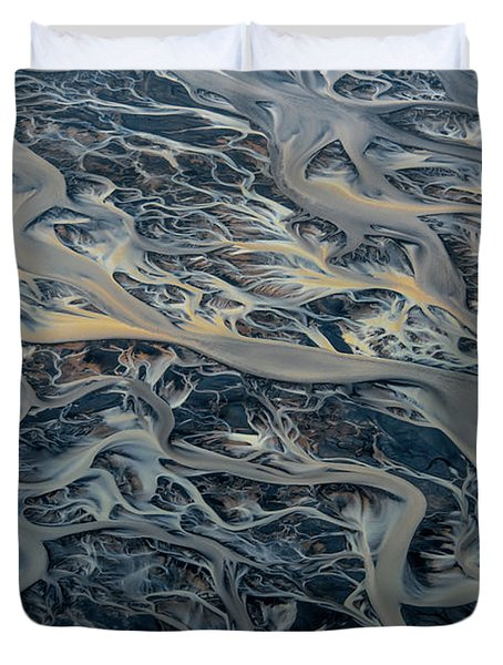 An Aerial View Of Streams Of Glacier Duvet Cover