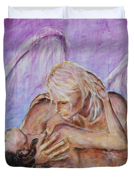Duvet Cover featuring the painting Angel In Love by Nik Helbig
