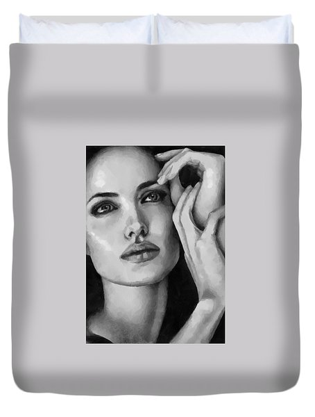 Angelina Jolie Black And Whire Duvet Cover by Georgi Dimitrov