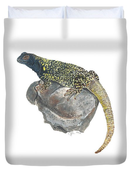 Argentine Lizard Duvet Cover by Cindy Hitchcock