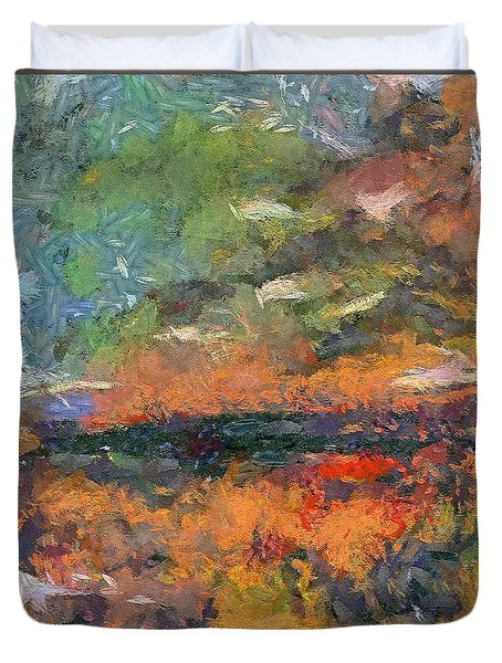 Duvet Cover featuring the painting At Dawn by Dragica  Micki Fortuna