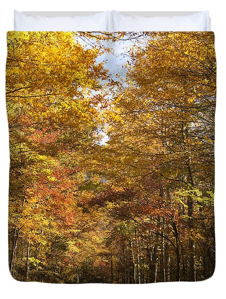 Duvet Cover featuring the photograph Autumn Drive by Andrew Soundarajan
