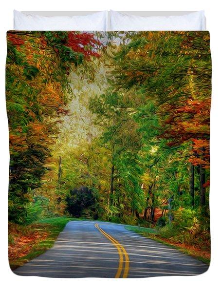 Duvet Cover featuring the digital art Autumn Drive by Kelvin Booker