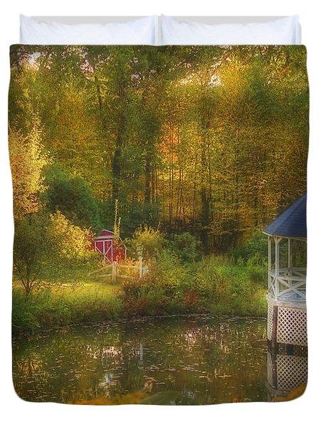 Autumn Gazebo Duvet Cover by Joann Vitali