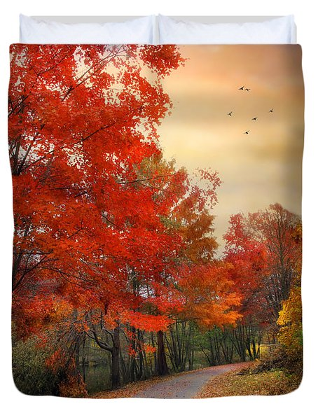 Duvet Cover featuring the photograph Autumn Maples by Jessica Jenney