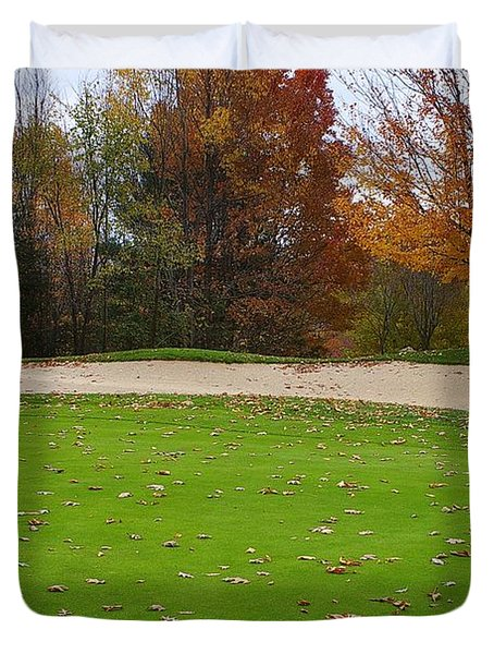 Duvet Cover featuring the photograph Autumn On The Green by Randy Pollard