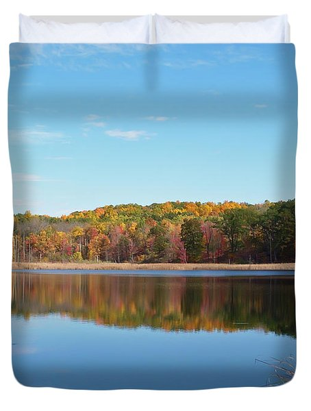 Duvet Cover featuring the photograph Autumn Pond by Aimee L Maher Photography and Art Visit ALMGallerydotcom