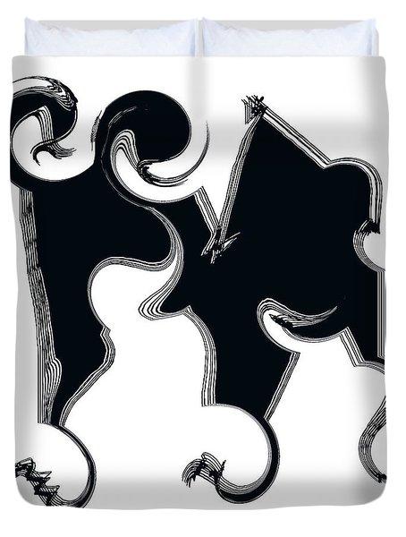 B W  Duvet Cover by Sir Josef - Social Critic -  Maha Art