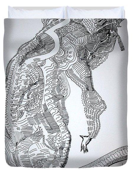 Duvet Cover featuring the drawing Bakiga Dance - Uganda by Gloria Ssali