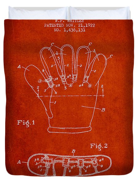 Baseball Glove Patent Drawing From 1922 Duvet Cover