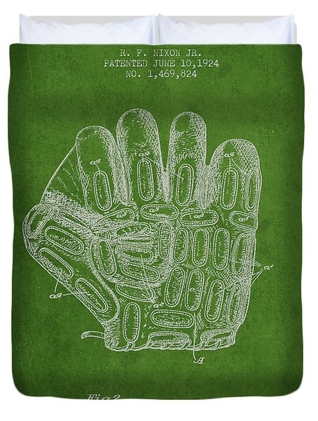 Baseball Glove Patent Drawing From 1924 Duvet Cover by Aged Pixel