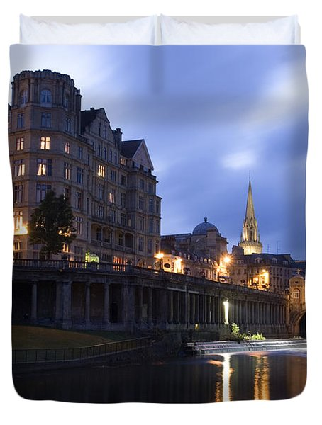 Bath City Spa Viewed Over The River Avon At Night Duvet Cover by Mal Bray