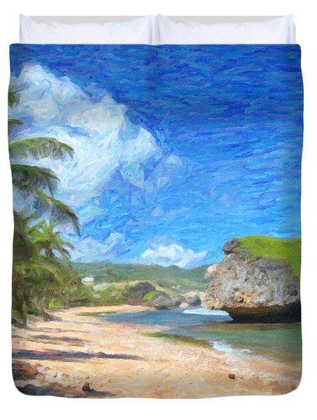 Bathsheba Beach In Barbados Duvet Cover by Verena Matthew