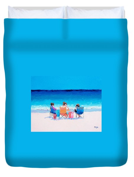 Beach Painting 'girl Friends' By Jan Matson Duvet Cover