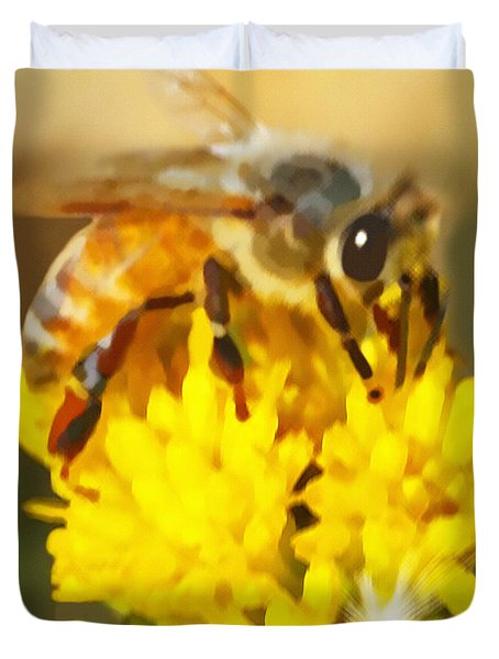 Bee On A Yellow Flower Duvet Cover