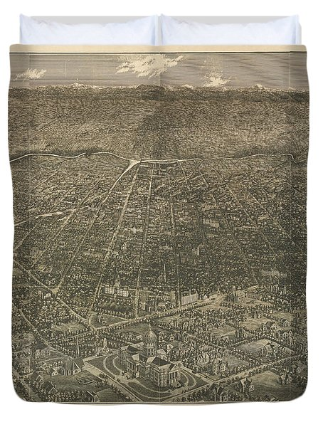 Birdseye Map Of Denver Colorado - 1887 Duvet Cover by Eric Glaser