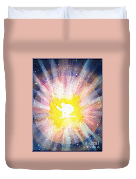 Duvet Cover featuring the painting Birth Of Soul - With Border by Leanne Seymour