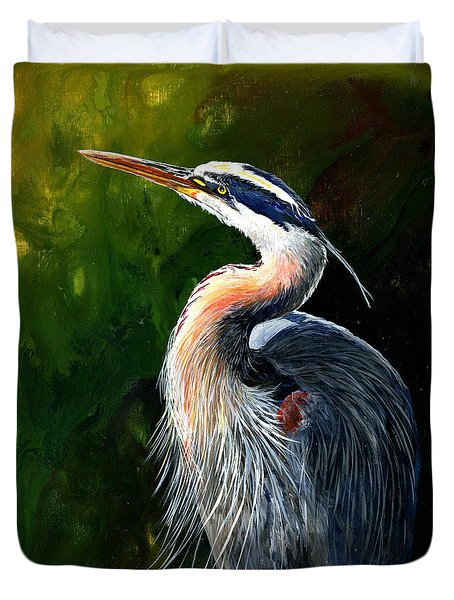 Blue Heron  Duvet Cover by Sherry Shipley