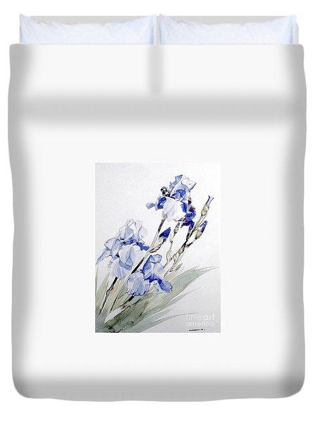 Blue Irises Duvet Cover